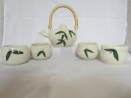 Porcelain Tea Pot with Handpainted Bamboo Design