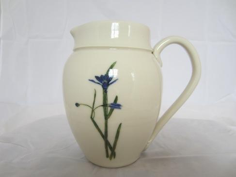 Porcelain Vase with Handpainted Blue Eyed Grass Design