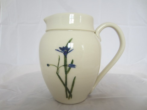 Porcelain Vase with Handpainted Blue Eyed Grass Design