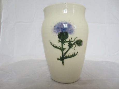 Porcelain Vase with Handpainted Thistle Design